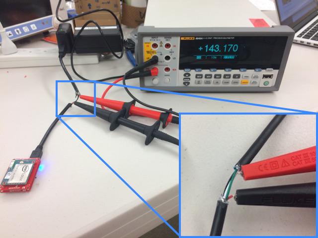 Intel Edison with ammeter